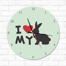Relógio Decorativo I love My Rabbit